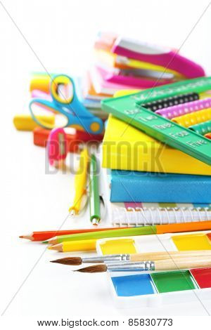 Bright school stationery, isolated on white