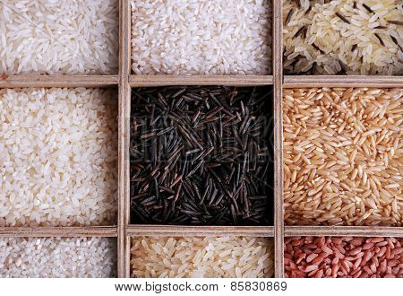 Different types of rice in wooden box