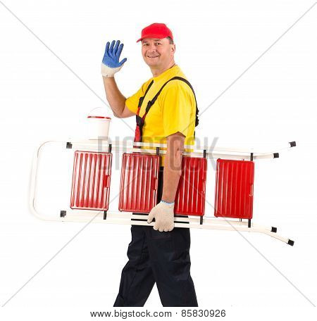 Worker with a staircase