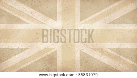 Vintage Yellowed Grunge Flag With Scratches Uk