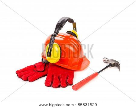 Red hard hat with gloves