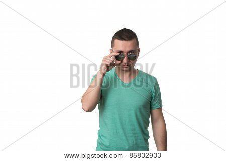 Man Wearing Fashionable Sunglasses On Isolated White Background
