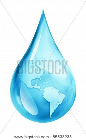 Usa in water drop