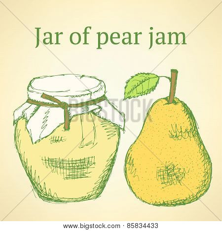 Sketch Pear And Jar In Vintage Style