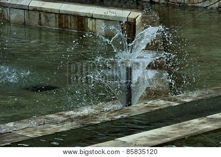 Moment shot of small garden fountain