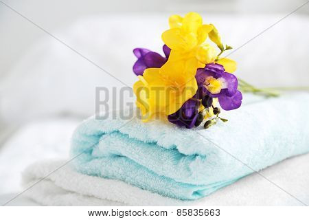 Colorful beautiful freesias on fresh towels in hotel, close up