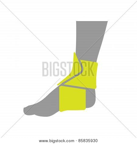Icon of Elastic Orthopedic Compression Bandage for Ankle Isolated on White Background.