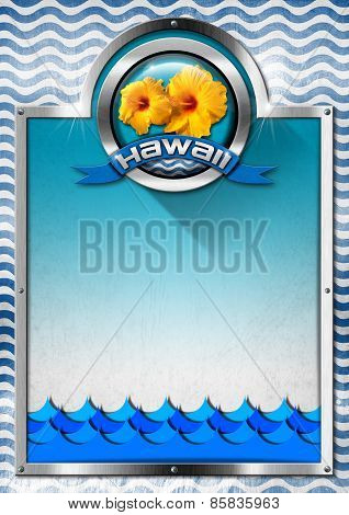 Hawaii Signboard With Blue Waves