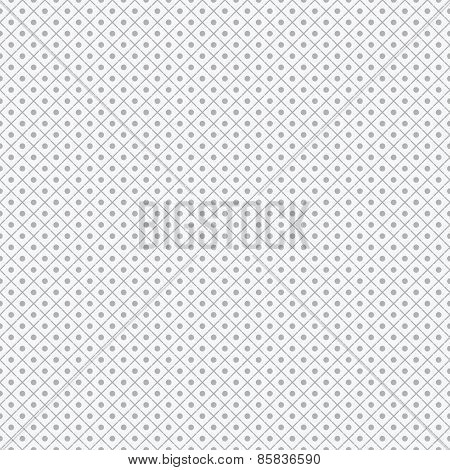 Geometric pattern with cross dashed lines and dots. Soft grey background.