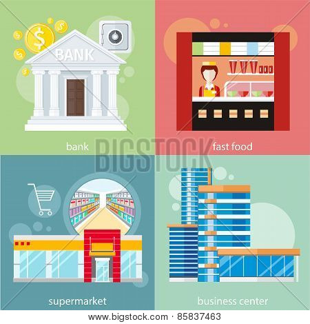 Business center, supermarket, bank, fast food