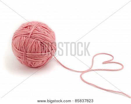 Ball Of Knitting Yarn Forming A Heart