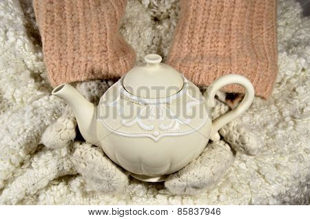 Teapot And Wool Fabrics