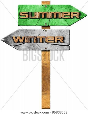 Winter And Summer - Wooden Sign