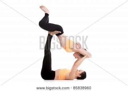 Acroyoga, Reclining Bound Angle Pose