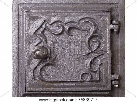 Cast iron door for furnaces. Fragment.