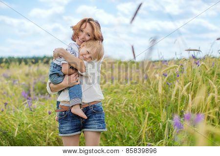 Caucasian Baby Boy Take Rest In Summer Park