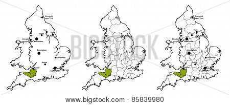 Somerset located on map of England