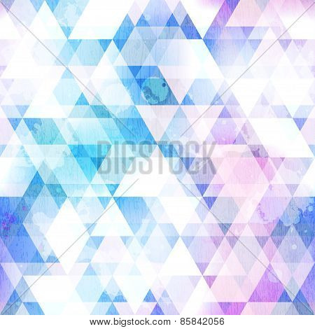 Sky Blue Triangle Seamless Texture With Grunge Effect
