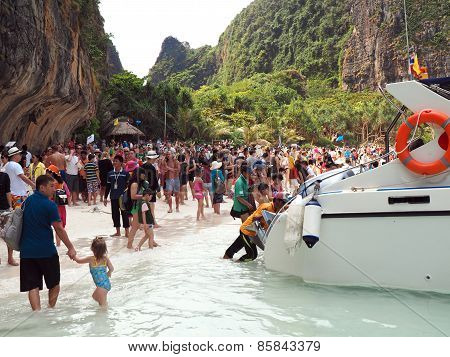 Crowd On The Beach Of Thailand