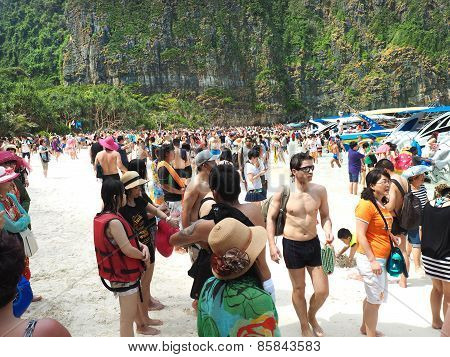 Crowd On Maya Beach Thailand