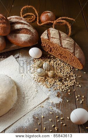 Fresh dough in flour with rye bread