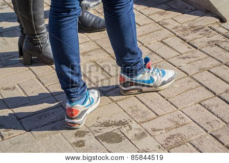 Young Girl In Popular Trainers