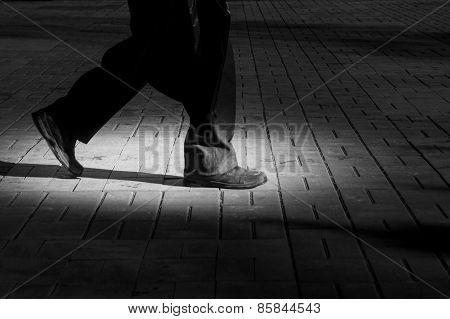 Walking Alone In City