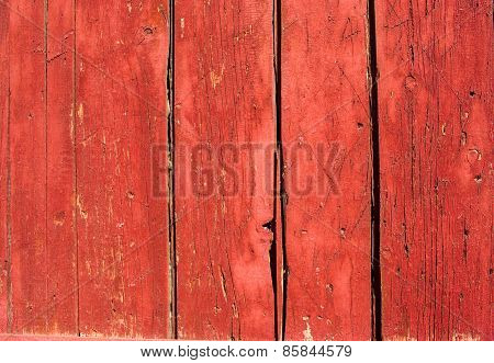 Red Painted Wooden Planks