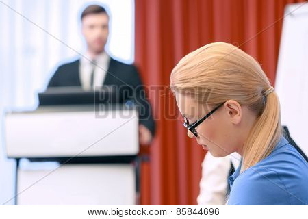 Business lady at the meeting