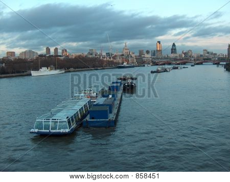 poster of River Thames and the city ceter at dusk, London, England