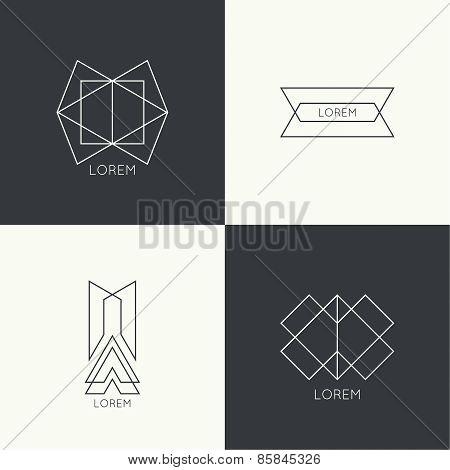 Set of vector hipster logo