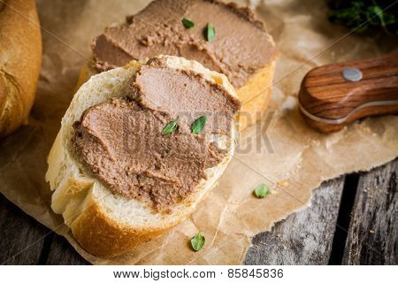 Sandwiches With Homemade Chicken Liver Pate Closeup