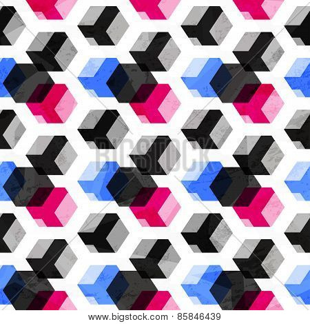 Technology Cubes Seamless Pattern With Grunge Effect