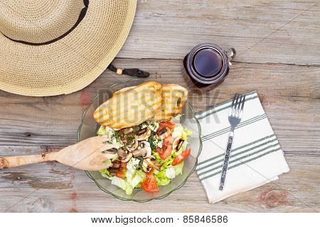 Hat And Healthy Lunch On Wooden Background