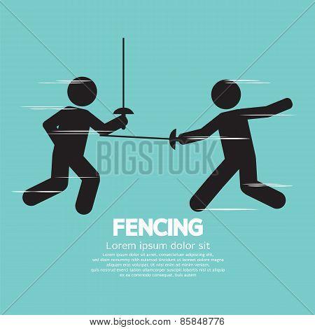 Fencing Sport Sign.