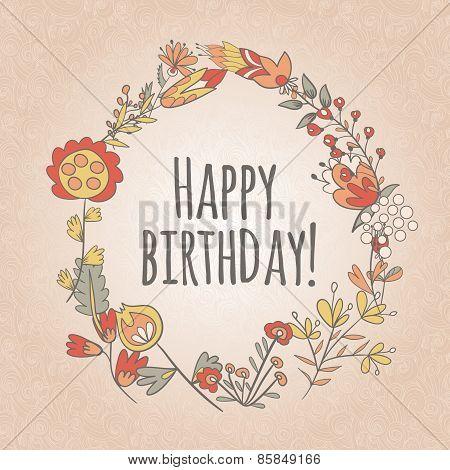 Happy Birthday Greeting Card. Circle Floral Frame