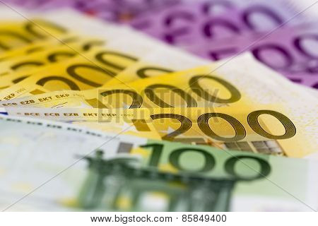 Stack Of Money With 100 Focused 200 And 500 Euro