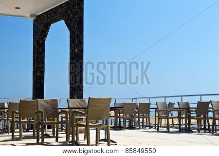 Summer restaurant is ready to accept visitors  In the restaurant, outdoor tables and chairs
