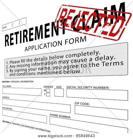 Retirement claim application form with red rejected rubber stamp