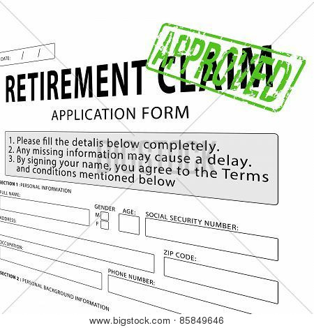 Retirement claim application form with green approved rubber stamp
