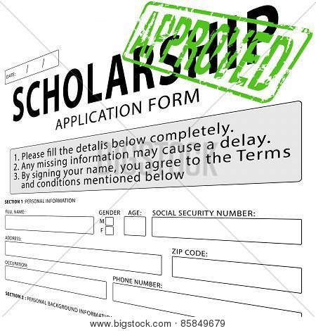 Scholarship application form with green approved rubber stamp