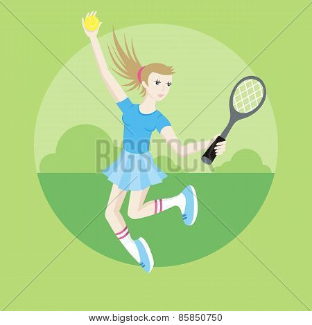 Sporty girl tennis player with racket
