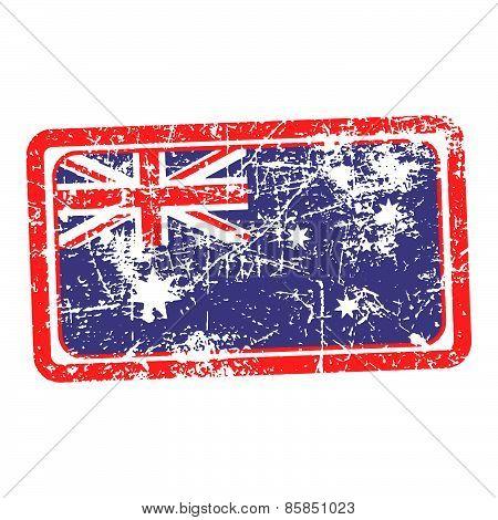 australia flag red grunge rubber stamp vector illustration
