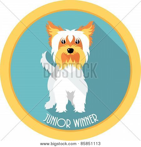 dog Junior winner medal icon flat design
