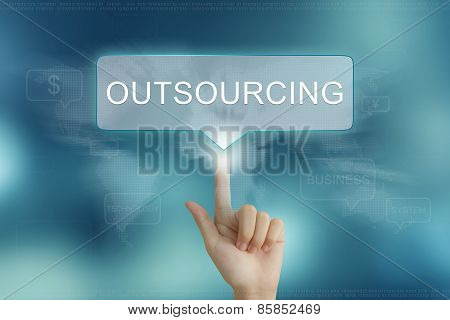 Hand Clicking On Outsourcing Button