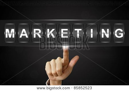 Business Hand Clicking Marketing On Flipboard