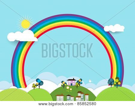 Landscape Paper Cut-fantasy Home ,Sky With Sun And Rainbow