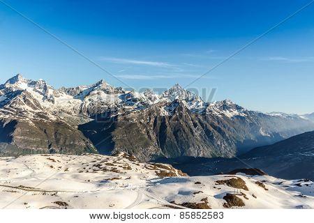 Mountain Range Landscape With Blue Sky At Alps Region, Zermatt, Switzerland