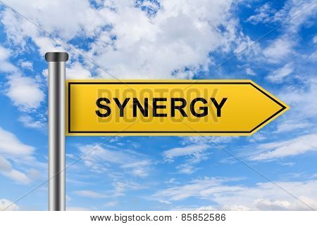 Yellow Road Sign With Synergy Words