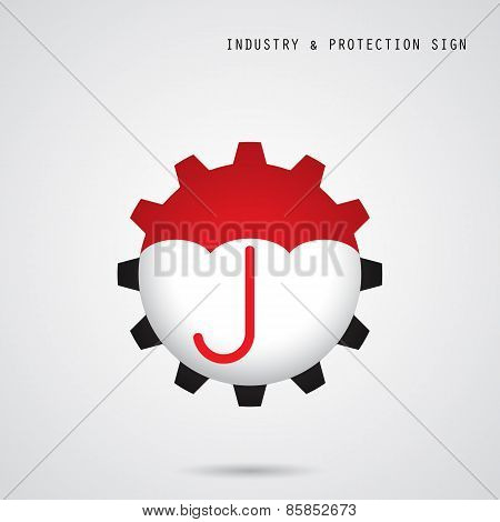 Umbrella Sign And Gear Icon. Industry, Protection And Security Concept.
